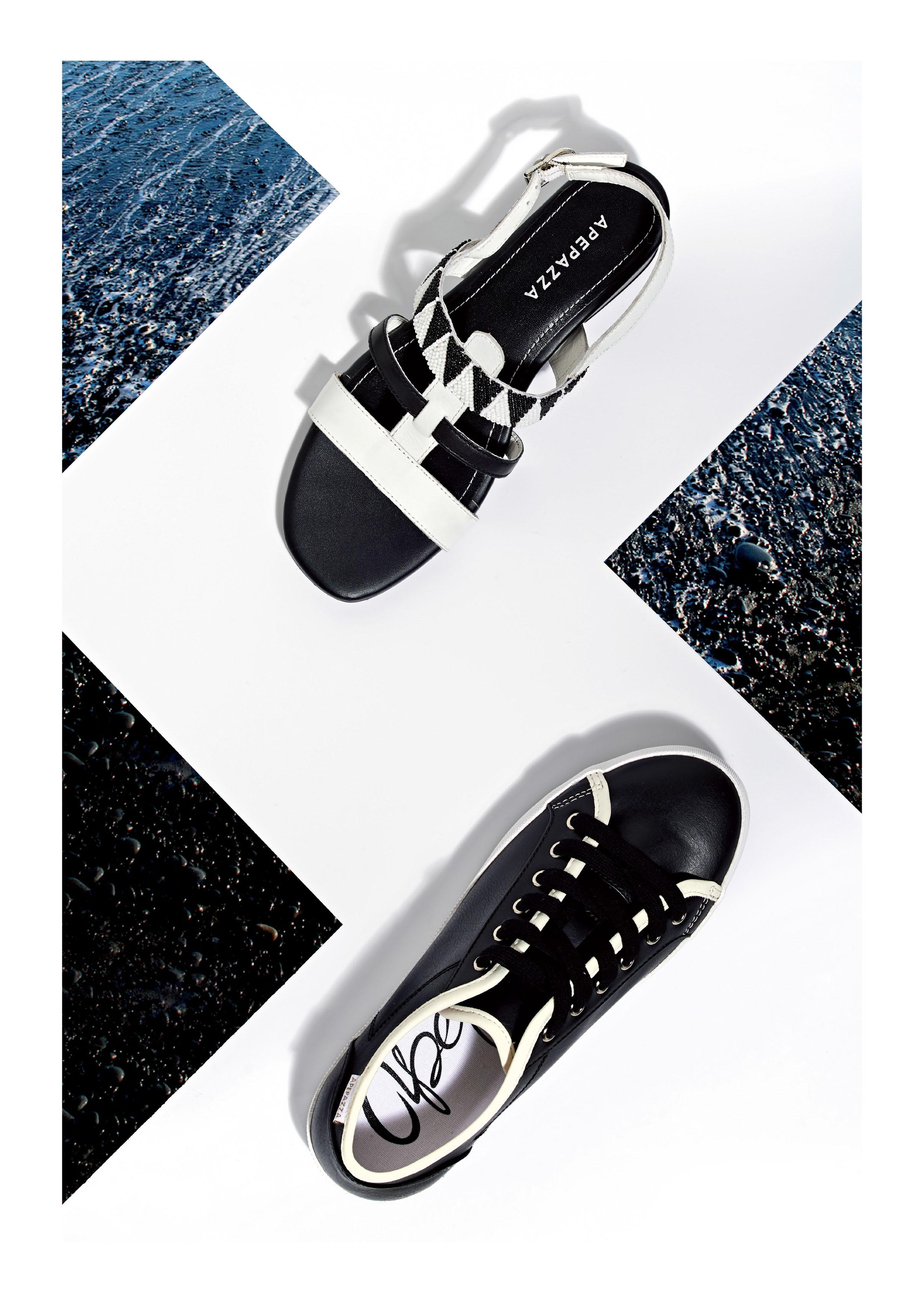 sandalo basso sneaker nero pelle