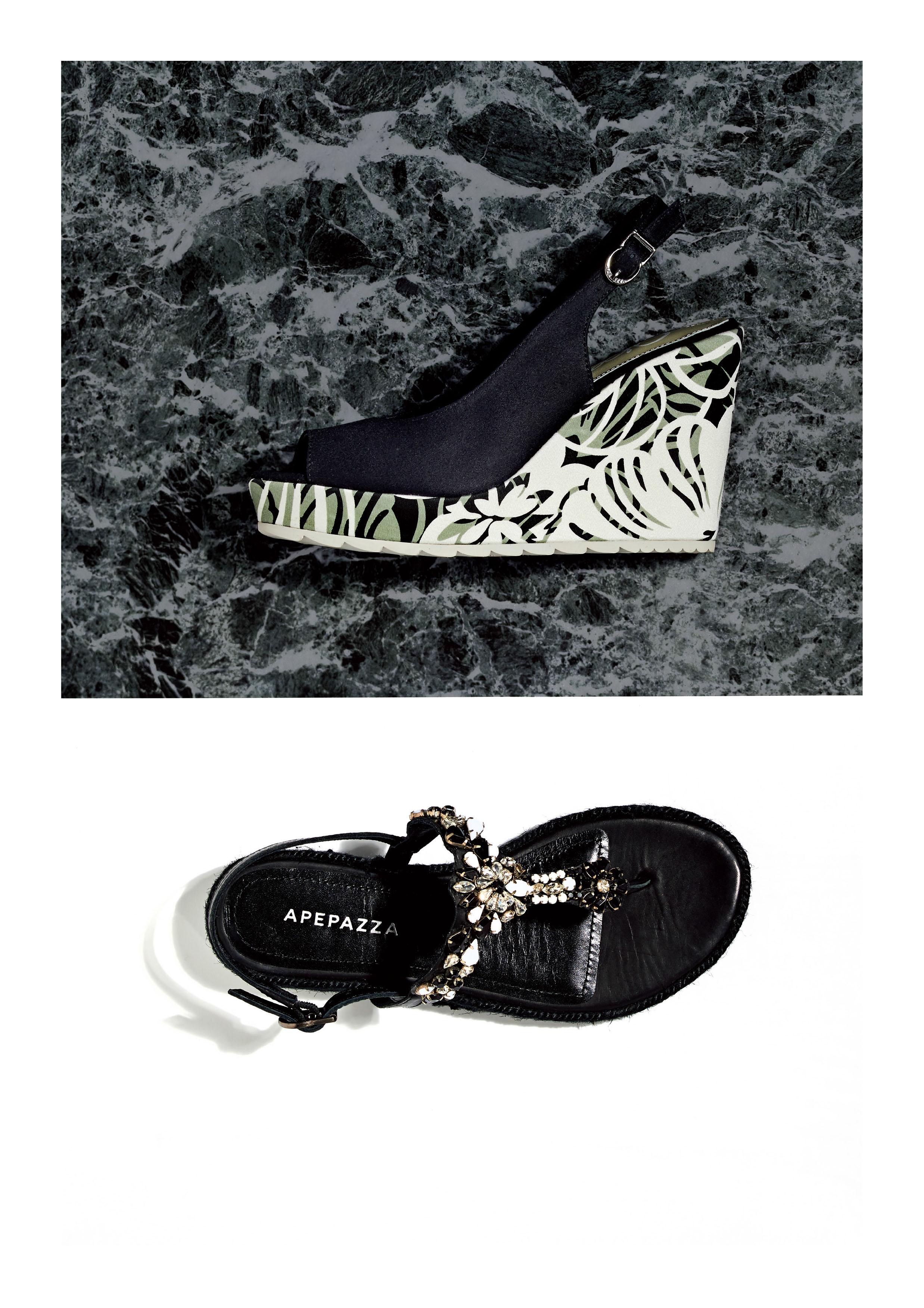 sandali zeppa decorazioni gioielli